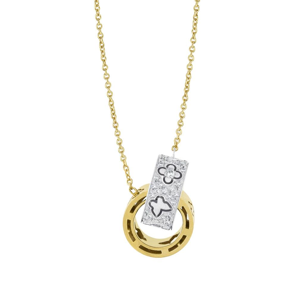 Interlocking Circle Pendant White & yellow gold