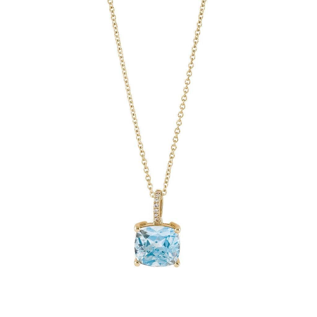 Blue Topaz Yellow Gold Pendant Necklace