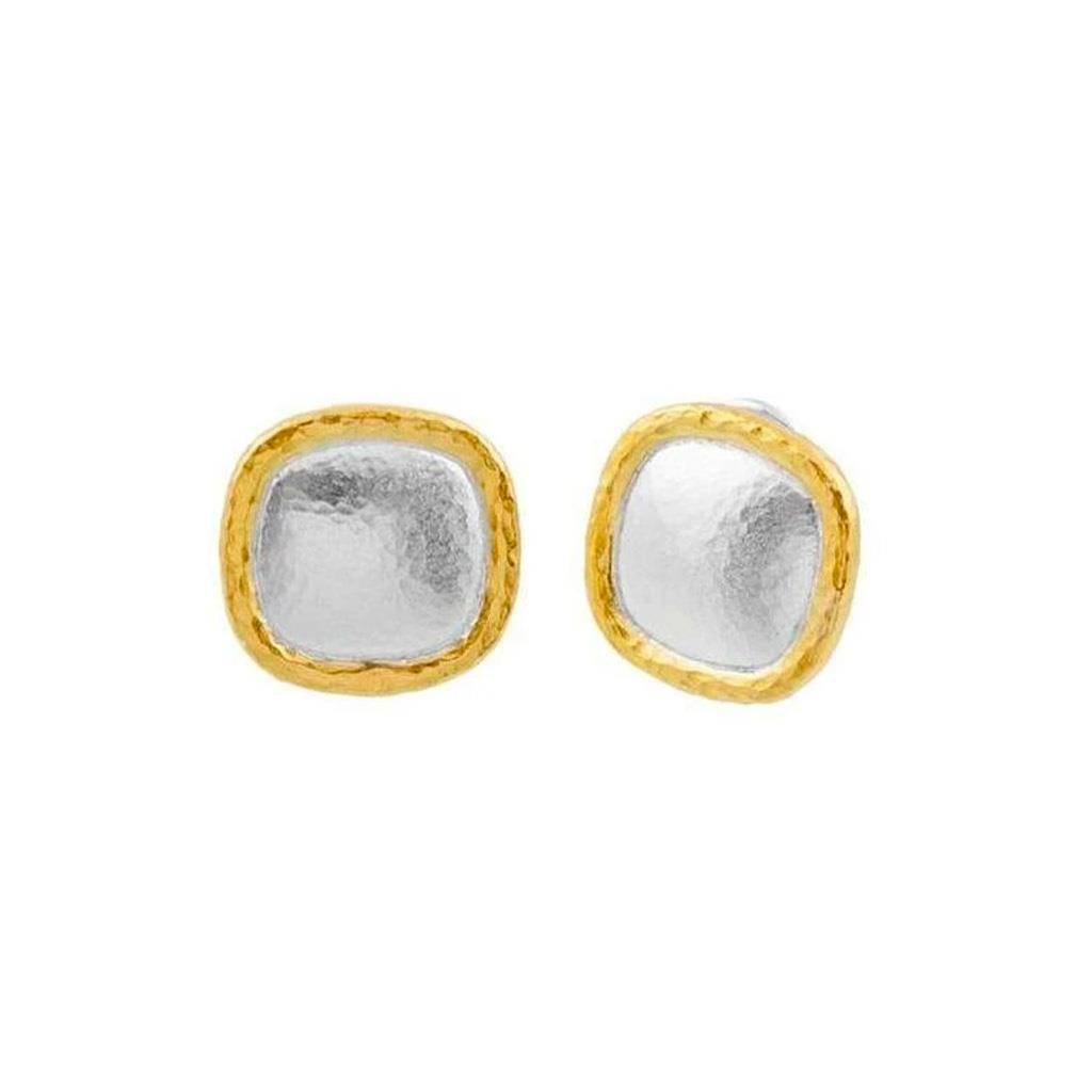 Sterling Silver and gold overlay square stud earring