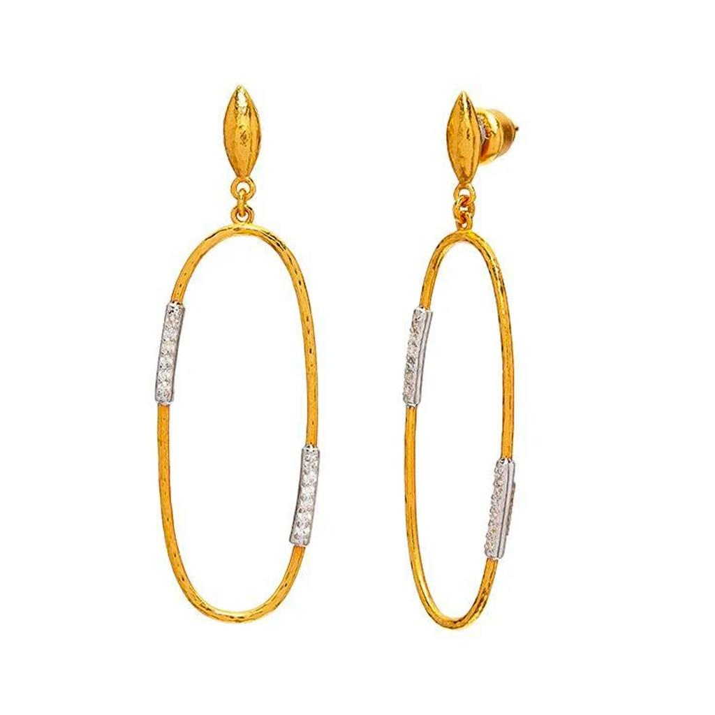 Yellow Gold and Diamond Open oval dangle earrings