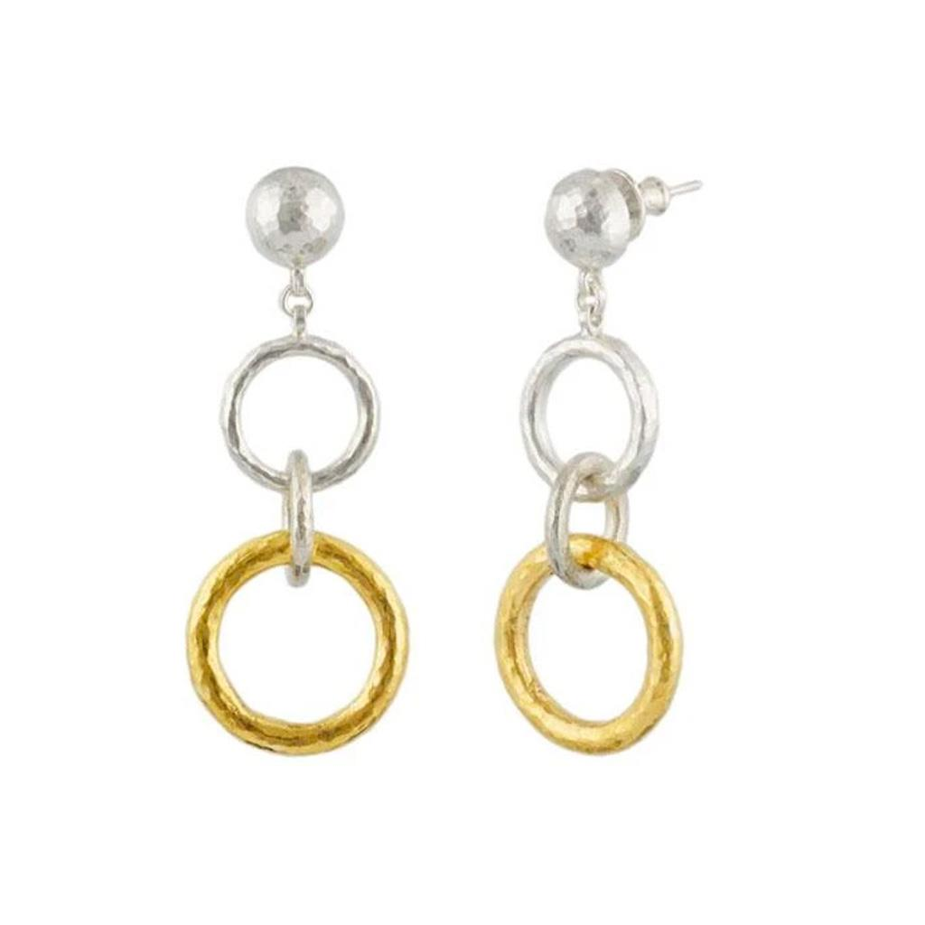 Gurhan two-toned hoop drop earring sterling silver