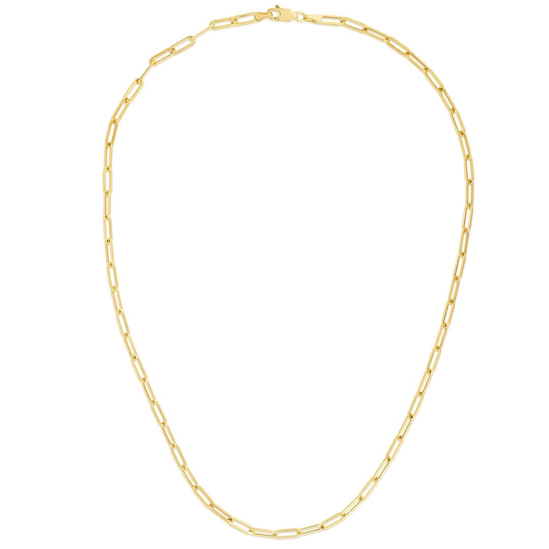 Paperclip yellow gold chain link necklace