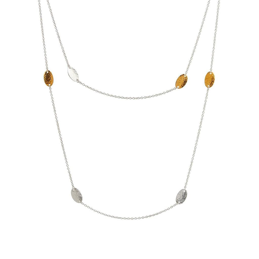 Long sterling silver and gold chain necklace