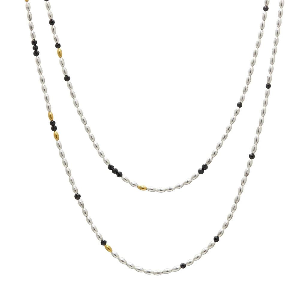 Long black spinel sterling silver and gold necklace