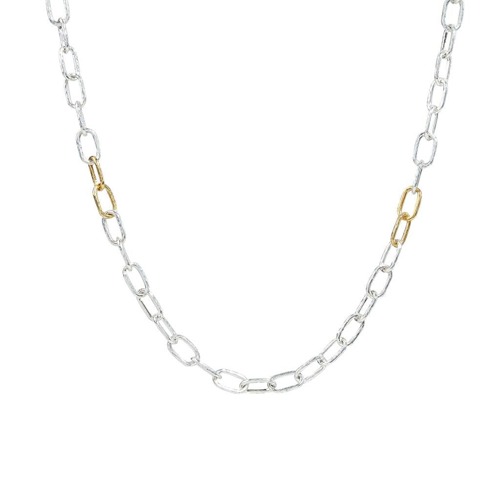 Sterling silver and gold oval link necklace
