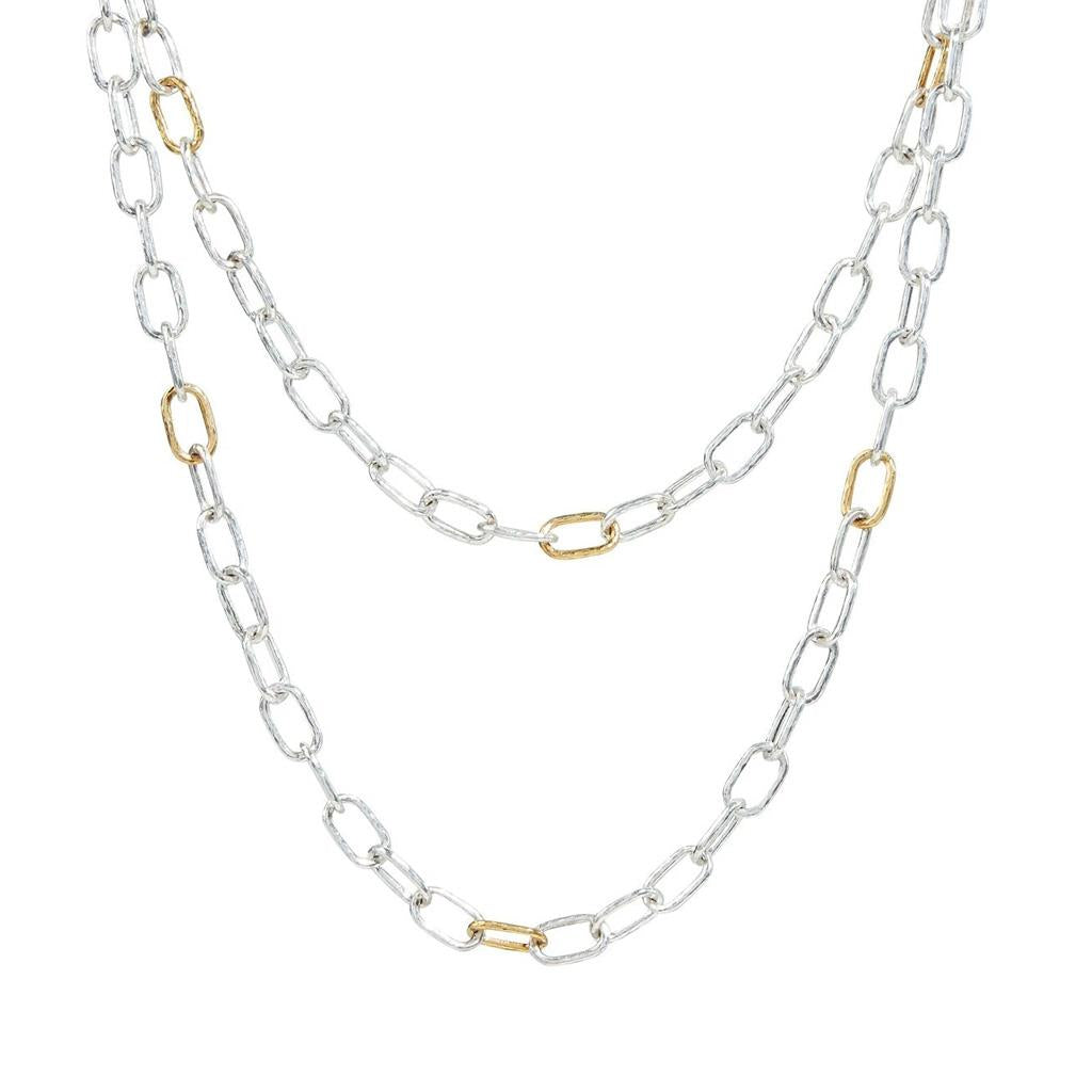 Gurhan sterling silver oval link and gold long strand necklace