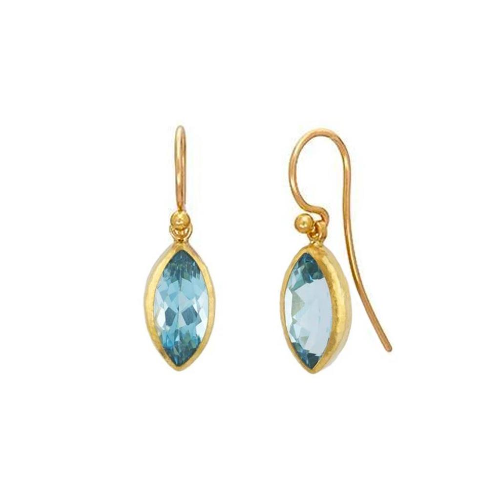 Yellow gold blue topaz marquise drop earrings