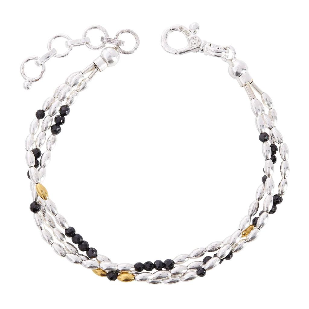 Sterling Silver, Yellow Gold and Black Spinel Multistrand bracelet