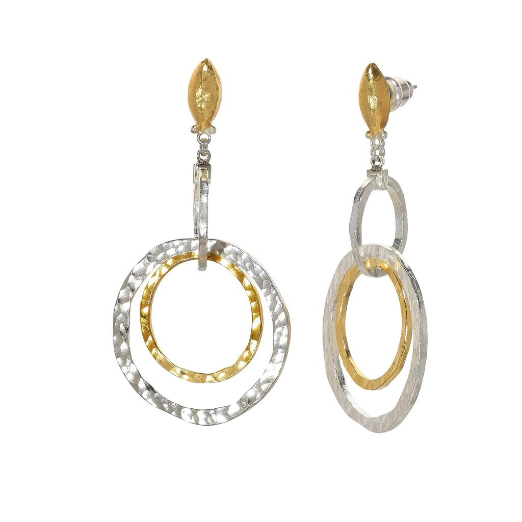 Sterling silver and yellow gold double circle link dangle earring