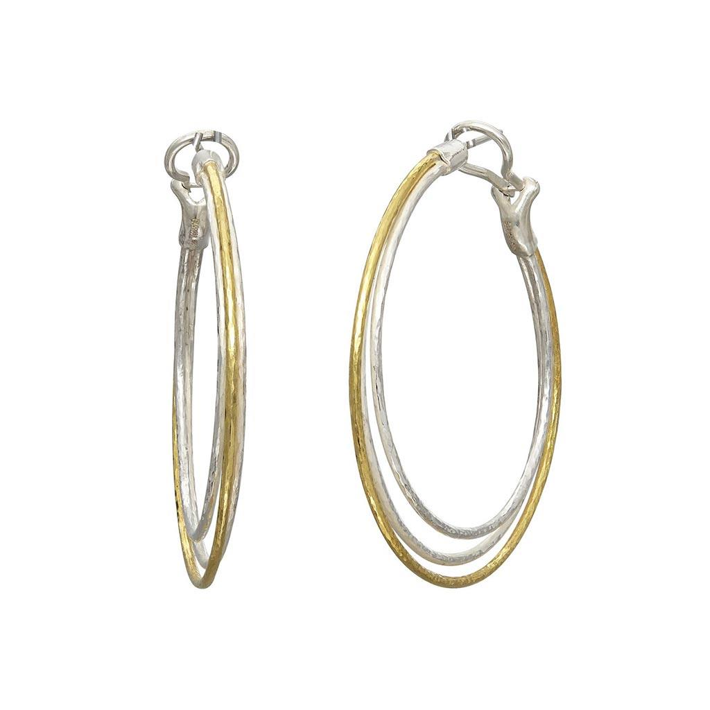Triple hoop sterling silver and gold earring