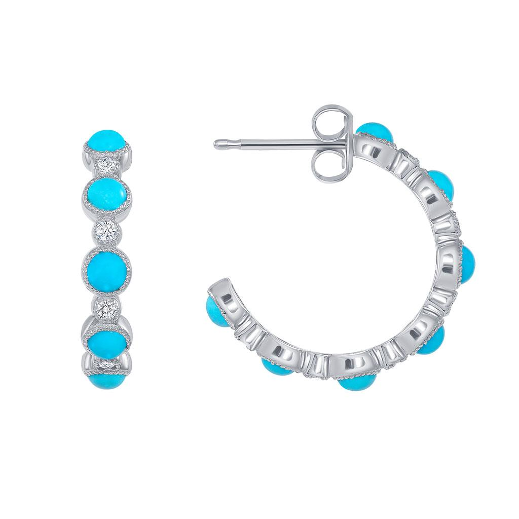 Turquoise and diamond hoop earrings white gold