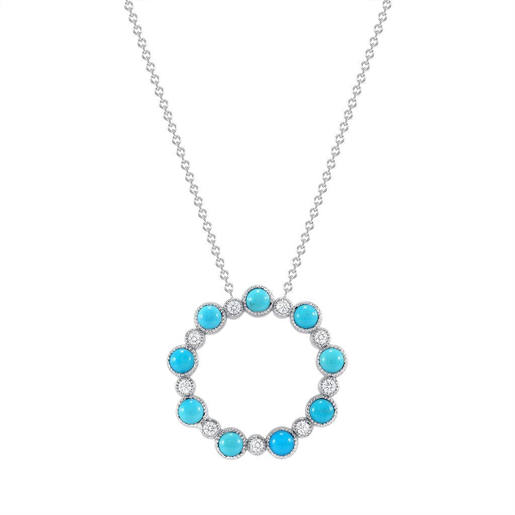 Turquoise and diamond circle pendant necklace in white gold