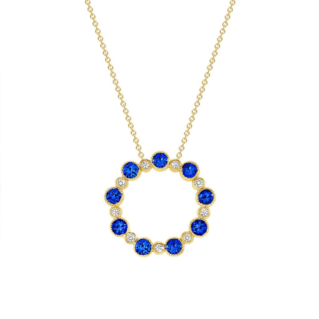 blue sapphire and diamond circle pendant necklace in yellow gold