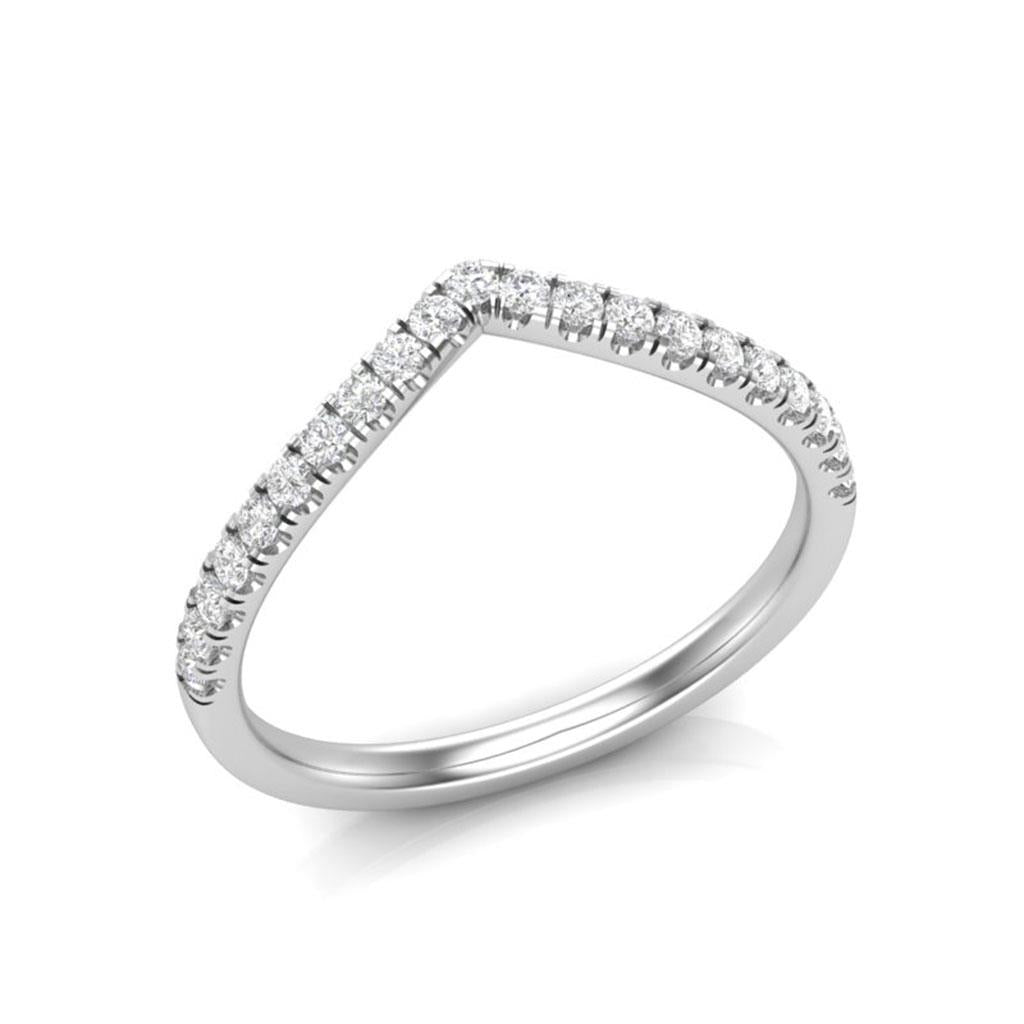 V White Gold Diamond Contour Ring