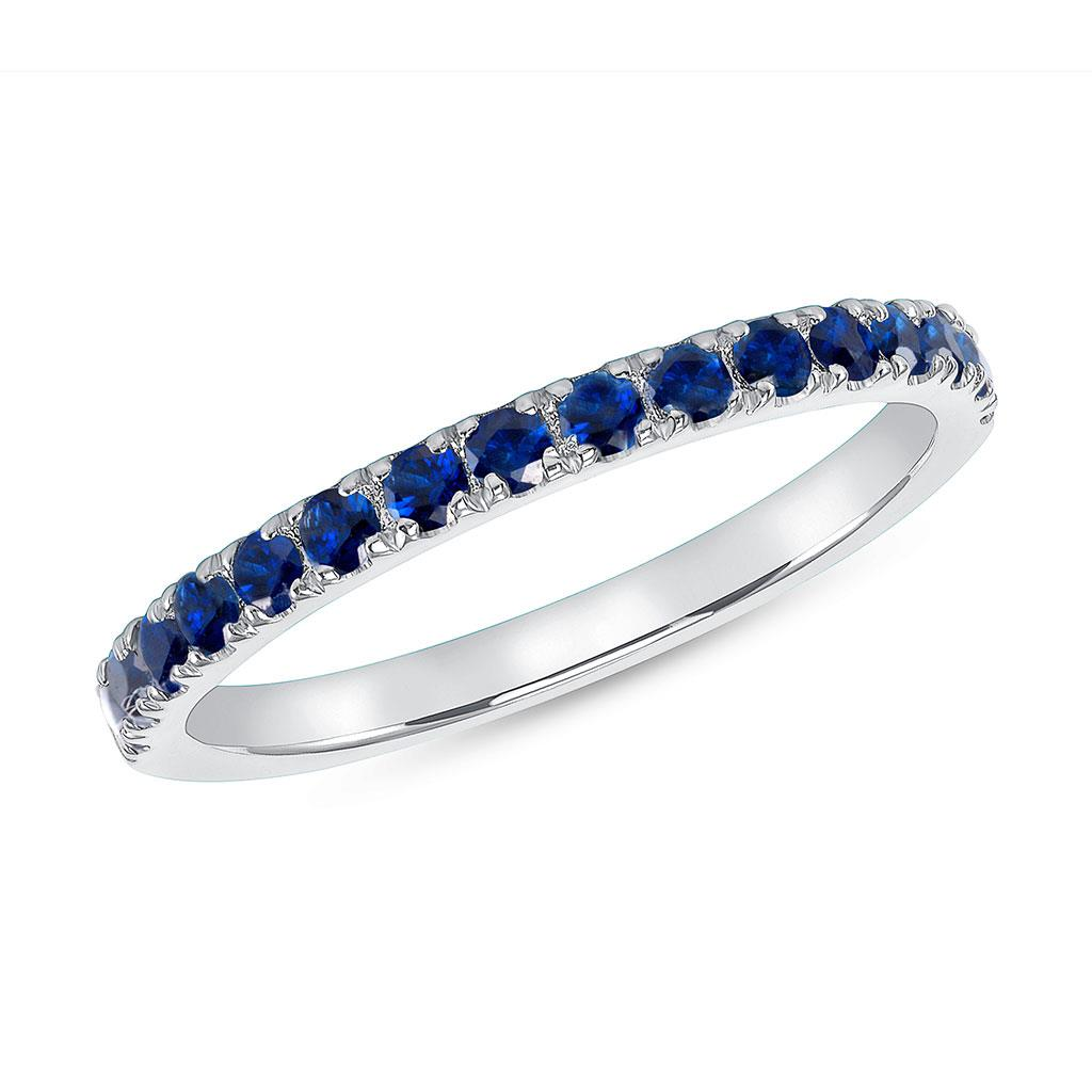 Blue sapphire white gold stackable band