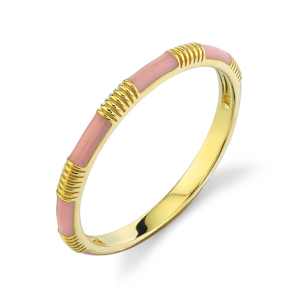 pink enamel 18k yellow gold ring
