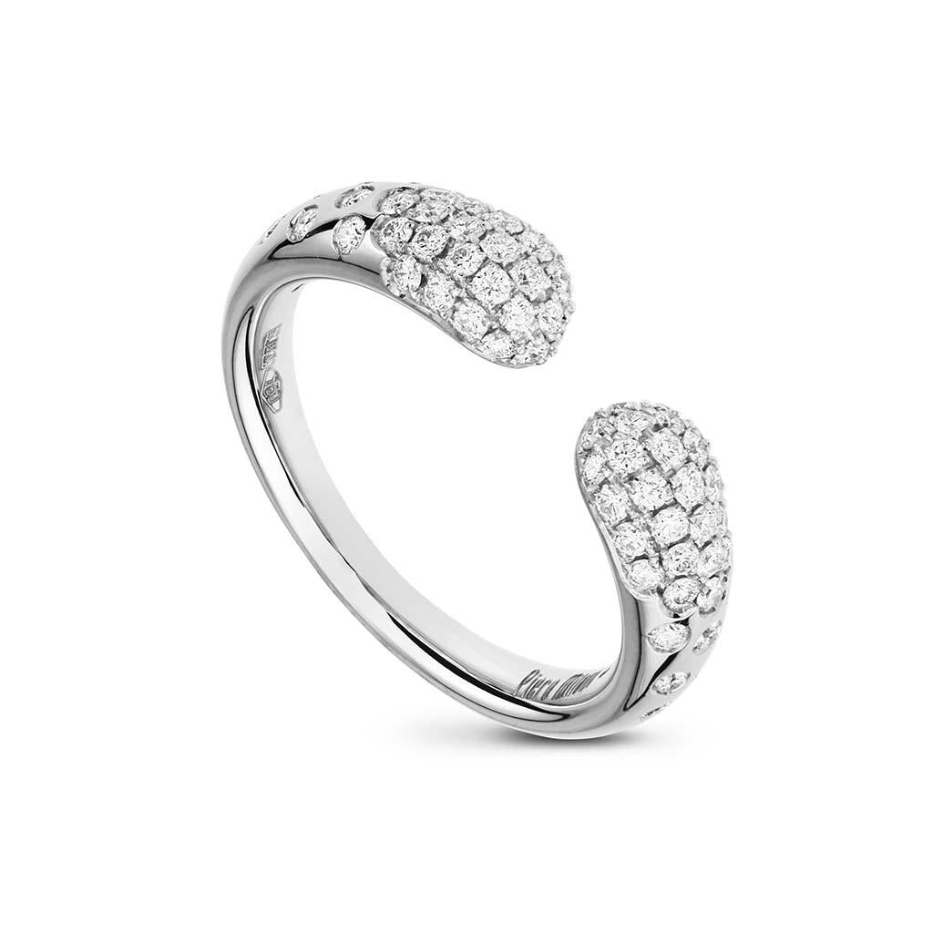 Open pave diamond white gold ring