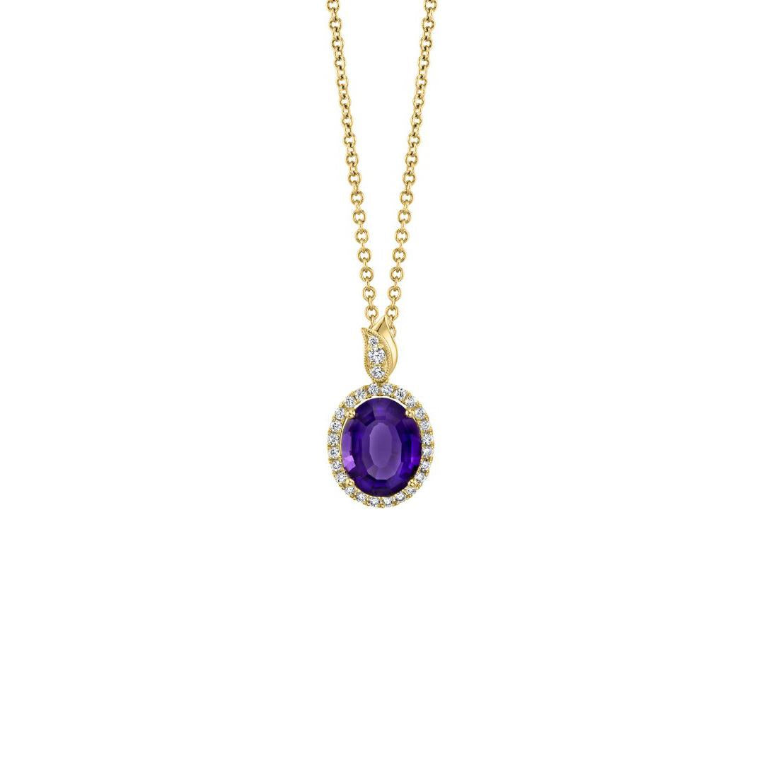Oval amethyst diamond halo yellow gold pendant necklace