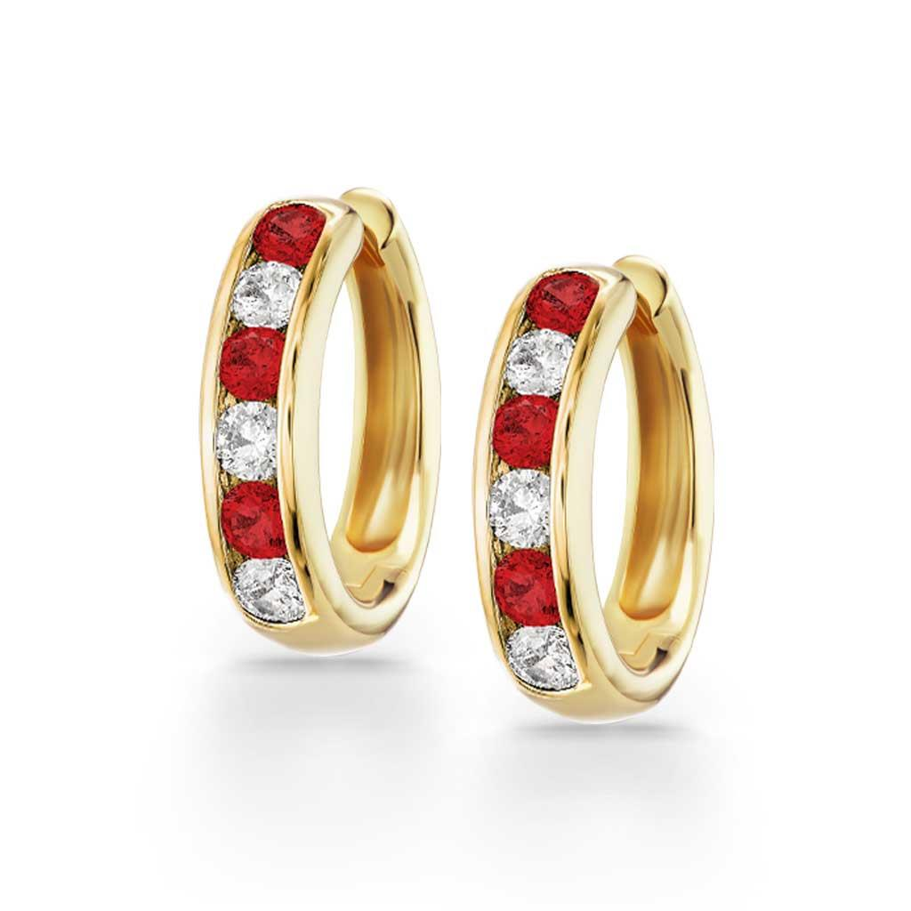 Ruby and diamond huggie hoops in yellow gold