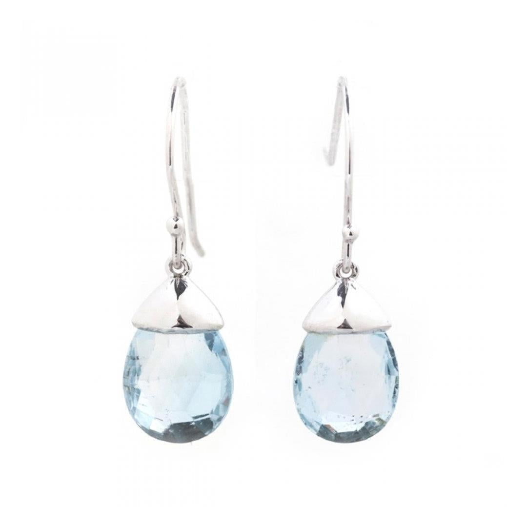 Aquamarine briolette drop earrings white gold