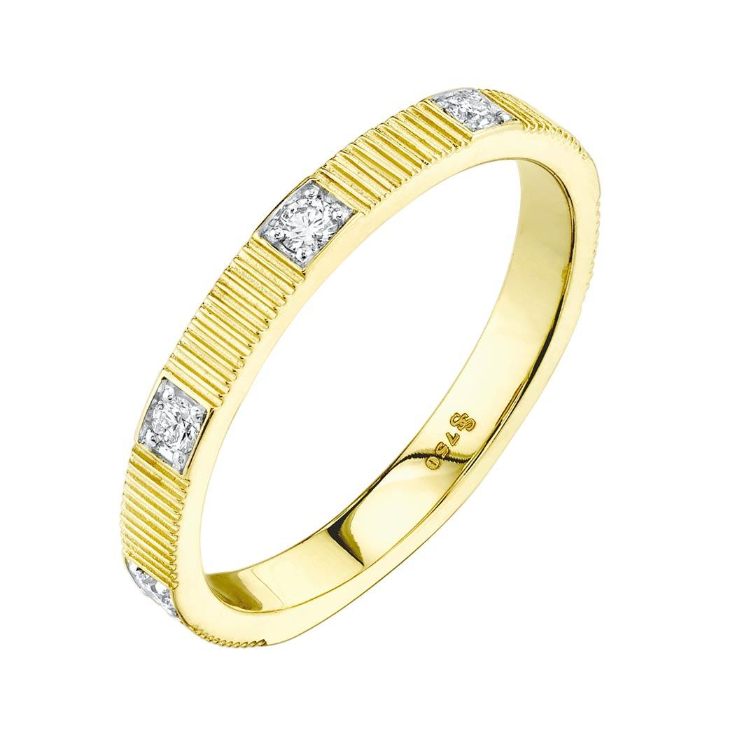 Diamond Strie Yellow gold Ring