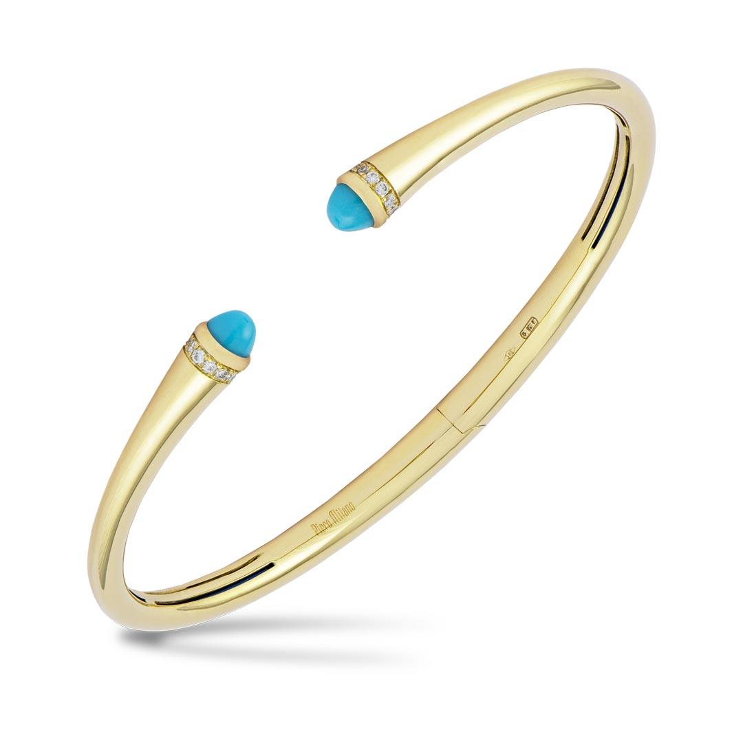 Turquoise diamond hinged yellow gold cuff bracelet