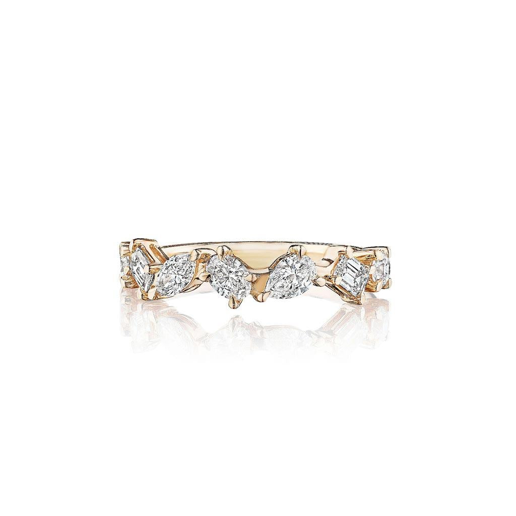 Mixed cut diamond half eternity band in yellow gold