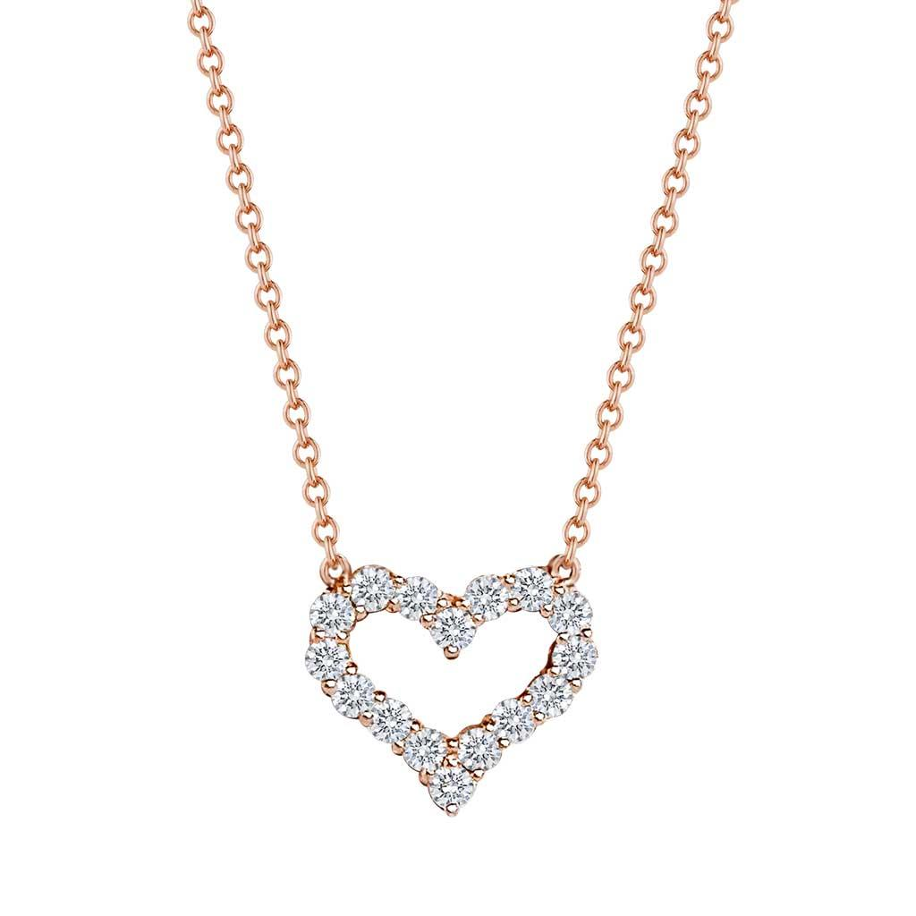 diamond heart rose gold necklace