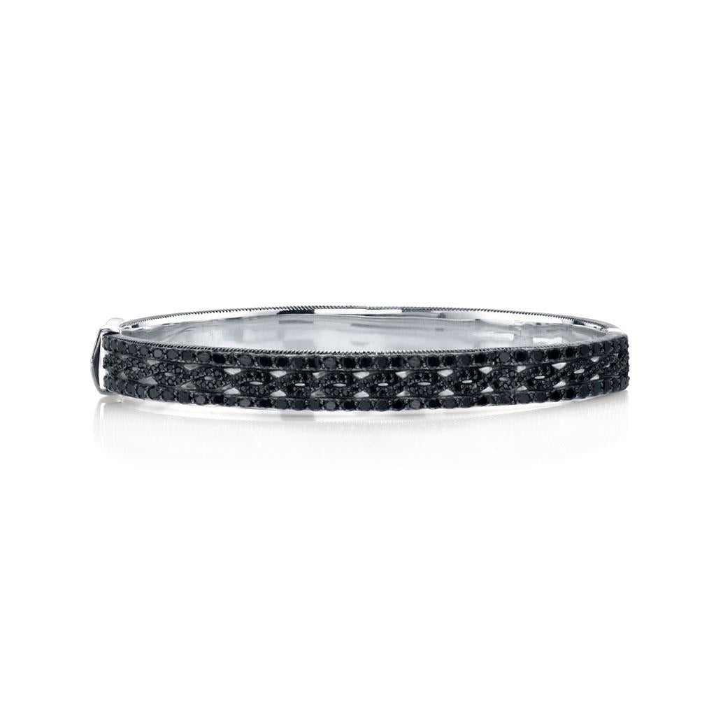 black spinel bangle bracelet in sterling silver