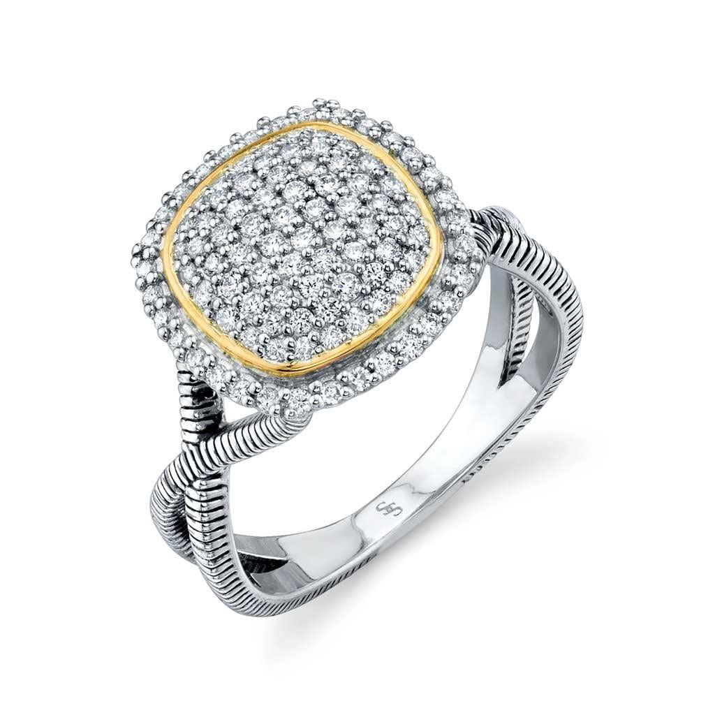Two-toned Pave Ring