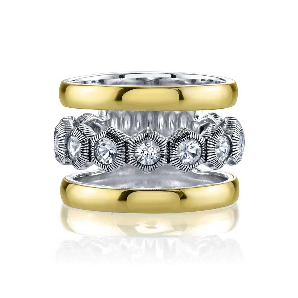 triple row hexagon ring in sterling silver and 18k yellow gold