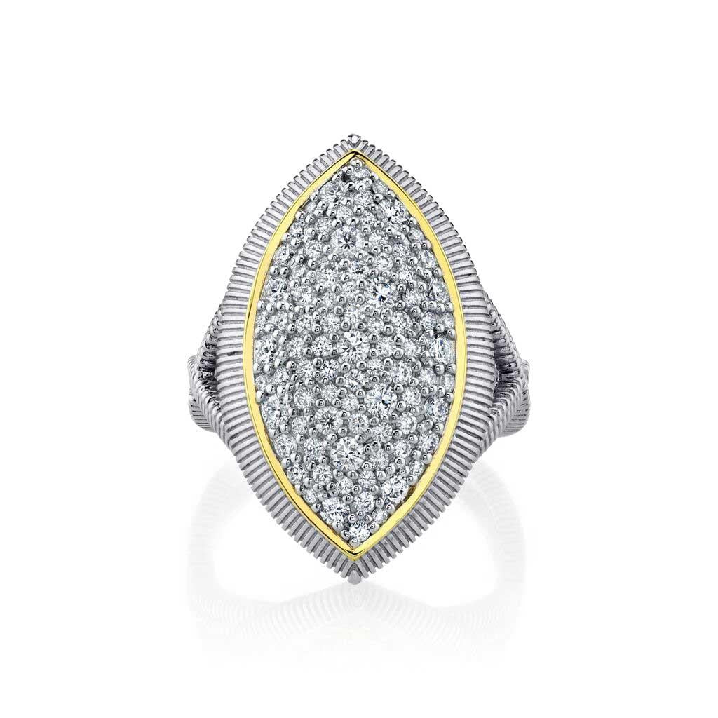 Marquise pave diamond two toned ring