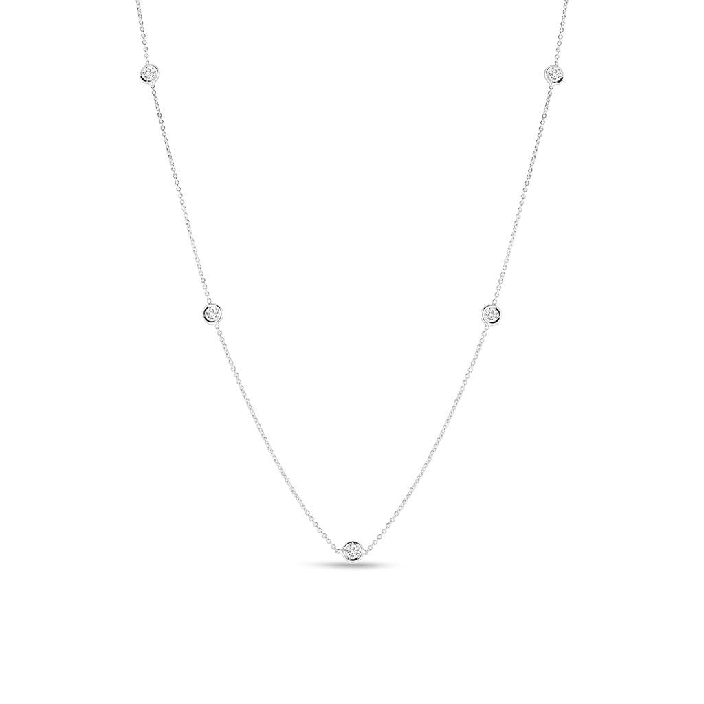 diamonds by the inch bezel set white gold necklace