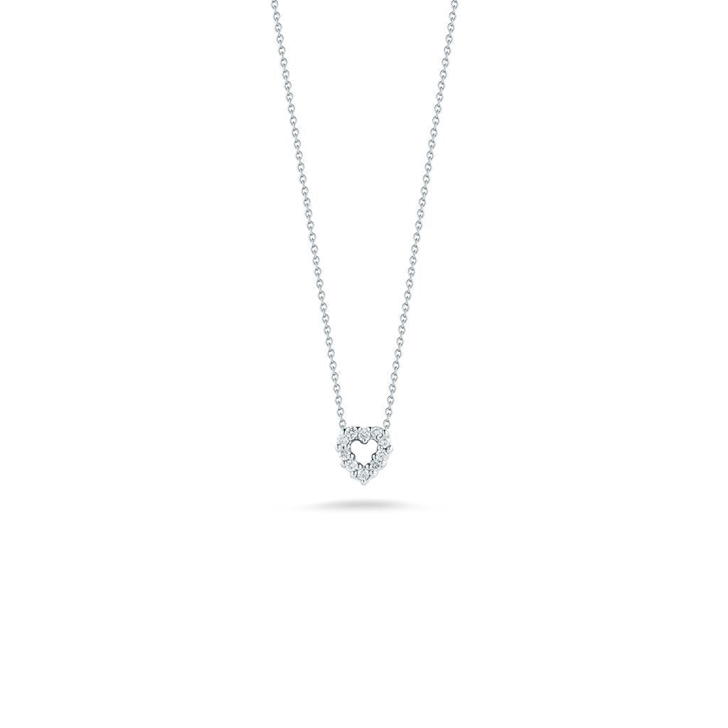 Roberto Coin diamond heart pendant white gold