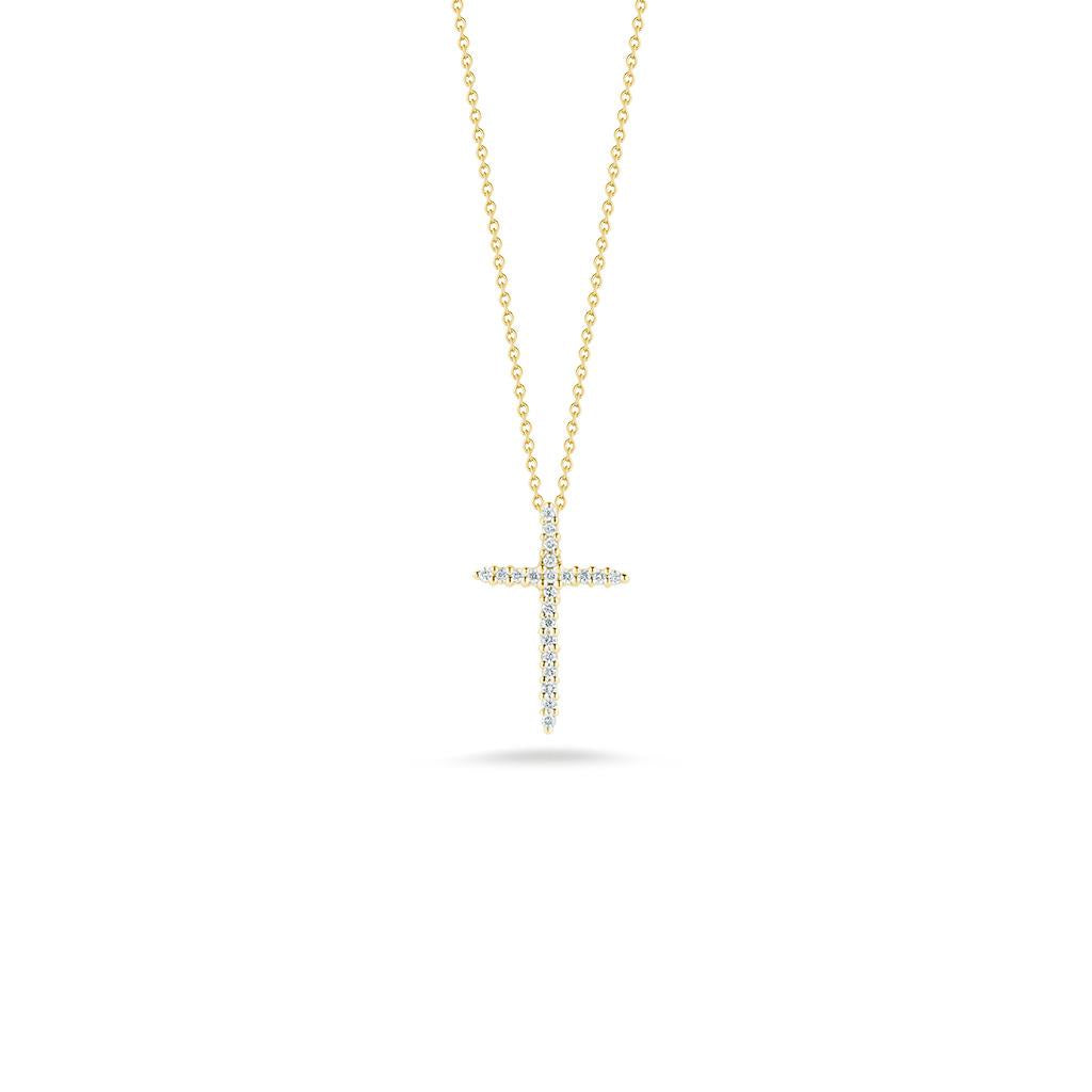 Roberto Coin Diamond cross pendant yellow gold