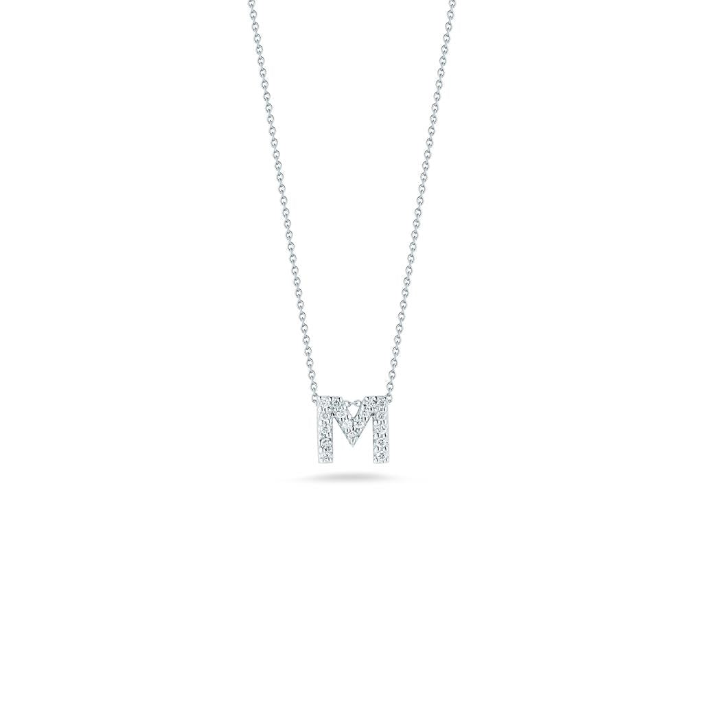 Roberto Coin intial diamond pendant white gold