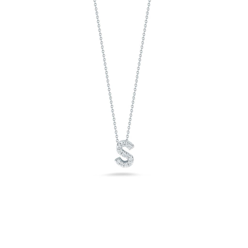 Roberto Coin diamond initial pendant white gold