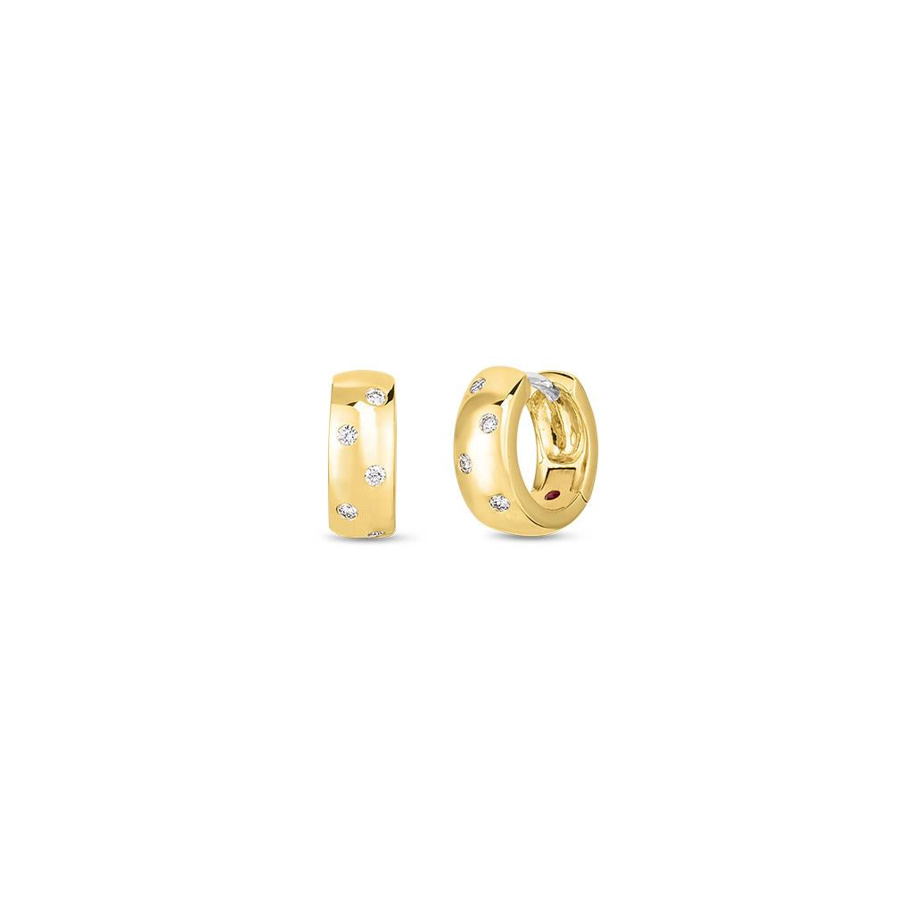 Roberto Coin chunky yellow gold huggies diamonds