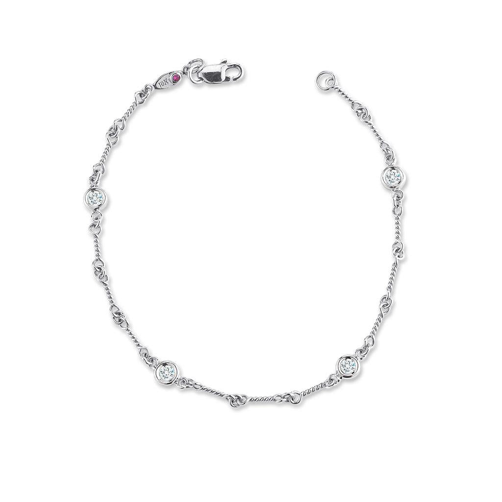 diamonds by the inch dogbone bracelet white gold
