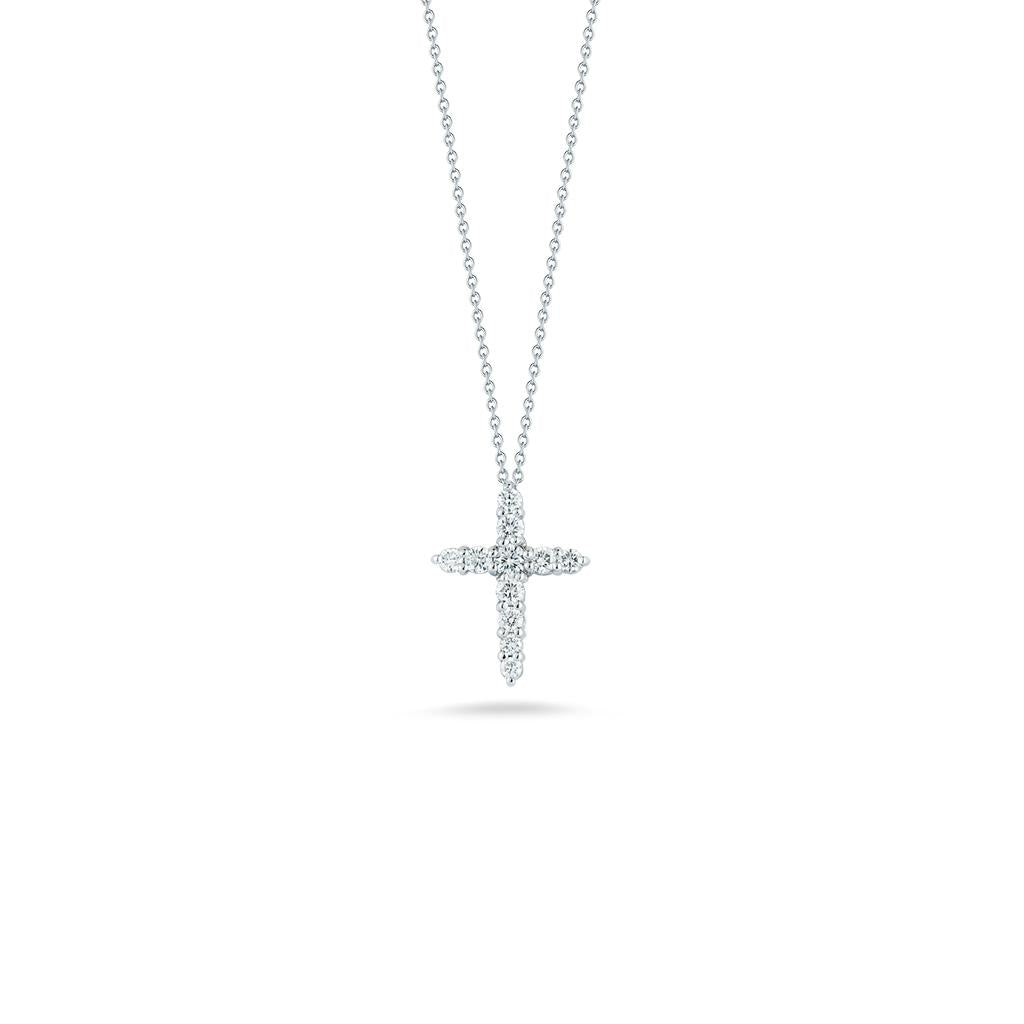 Roberto Coin diamond cross pendant white gold