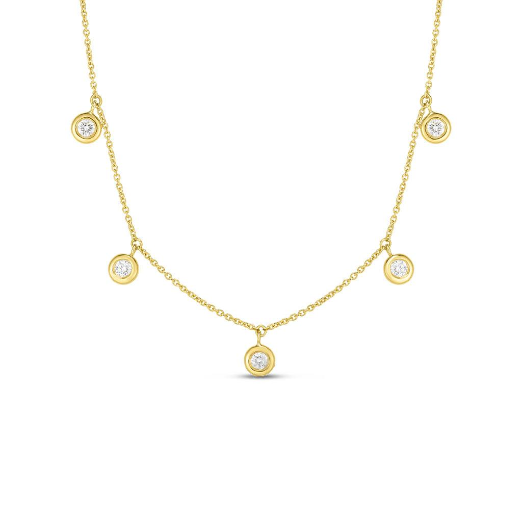 Roberto Coin diamond by the inch drop necklace yellow gold