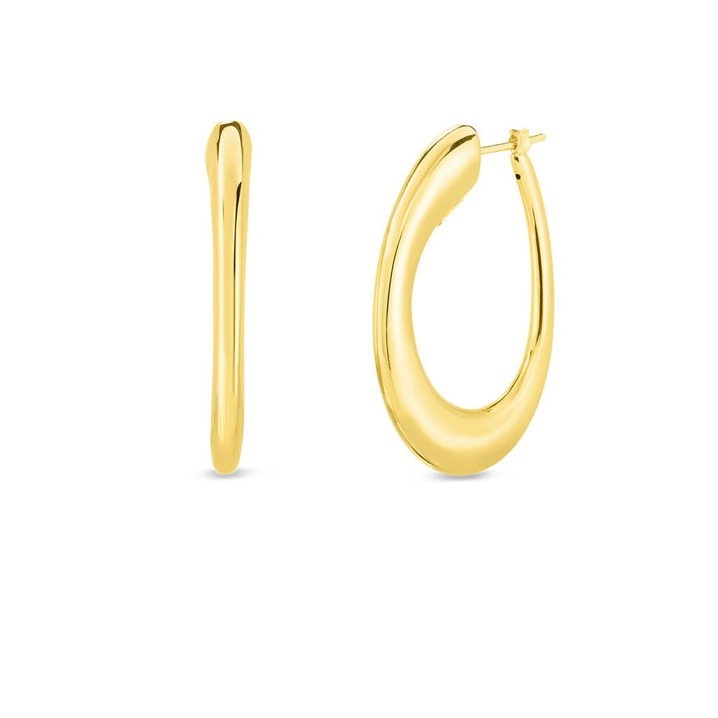Roberto Coin yellow gold oval hoops