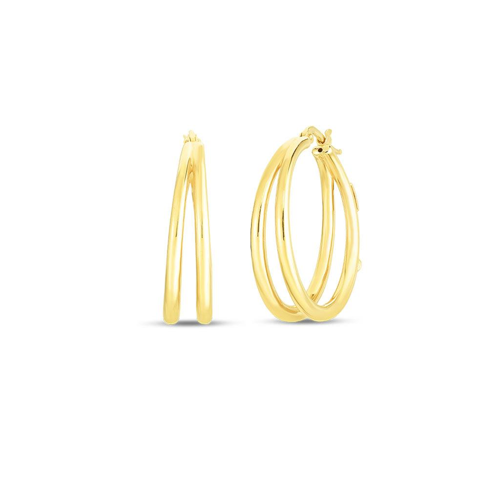 Roberto coin thin double hoop earring in yellow gold