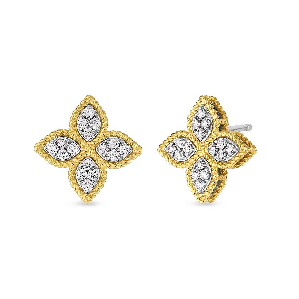 Roberto Coin diamond princess flower studs yellow gold