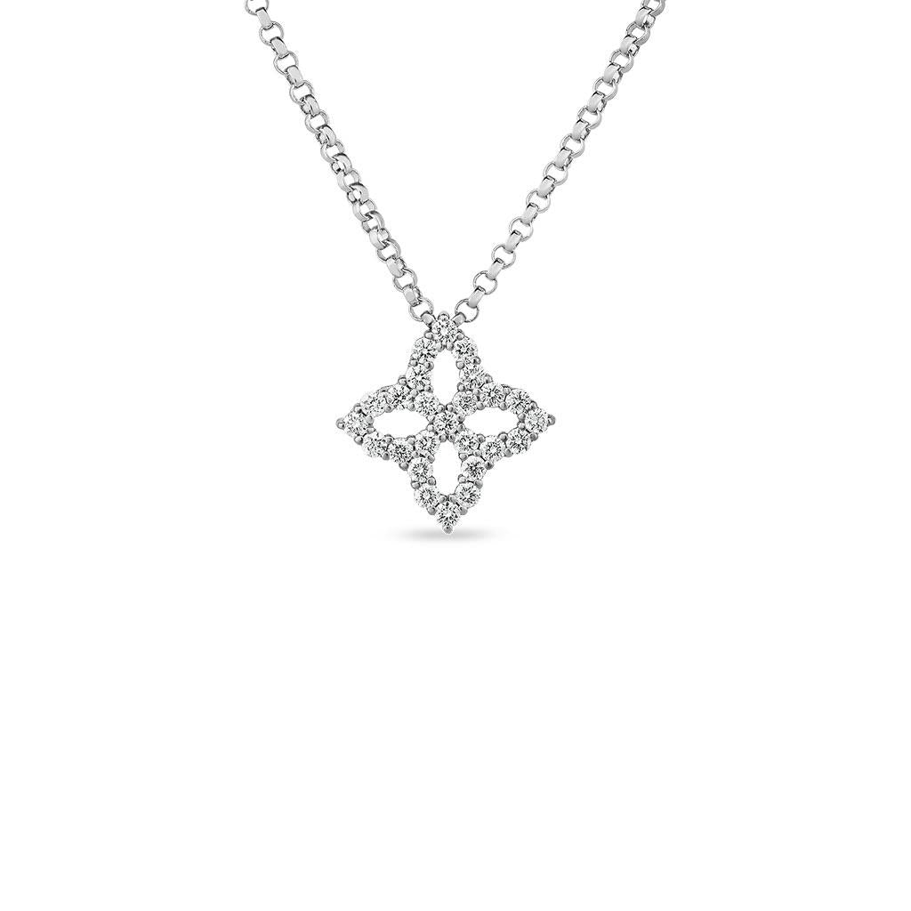 Roberto Coin Princess flower diamond pendant white gold