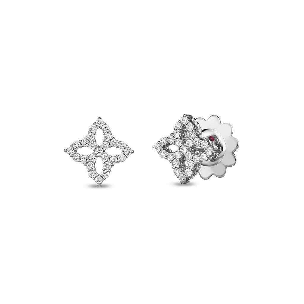 Roberto Coin flower motif diamond studs 18k white gold