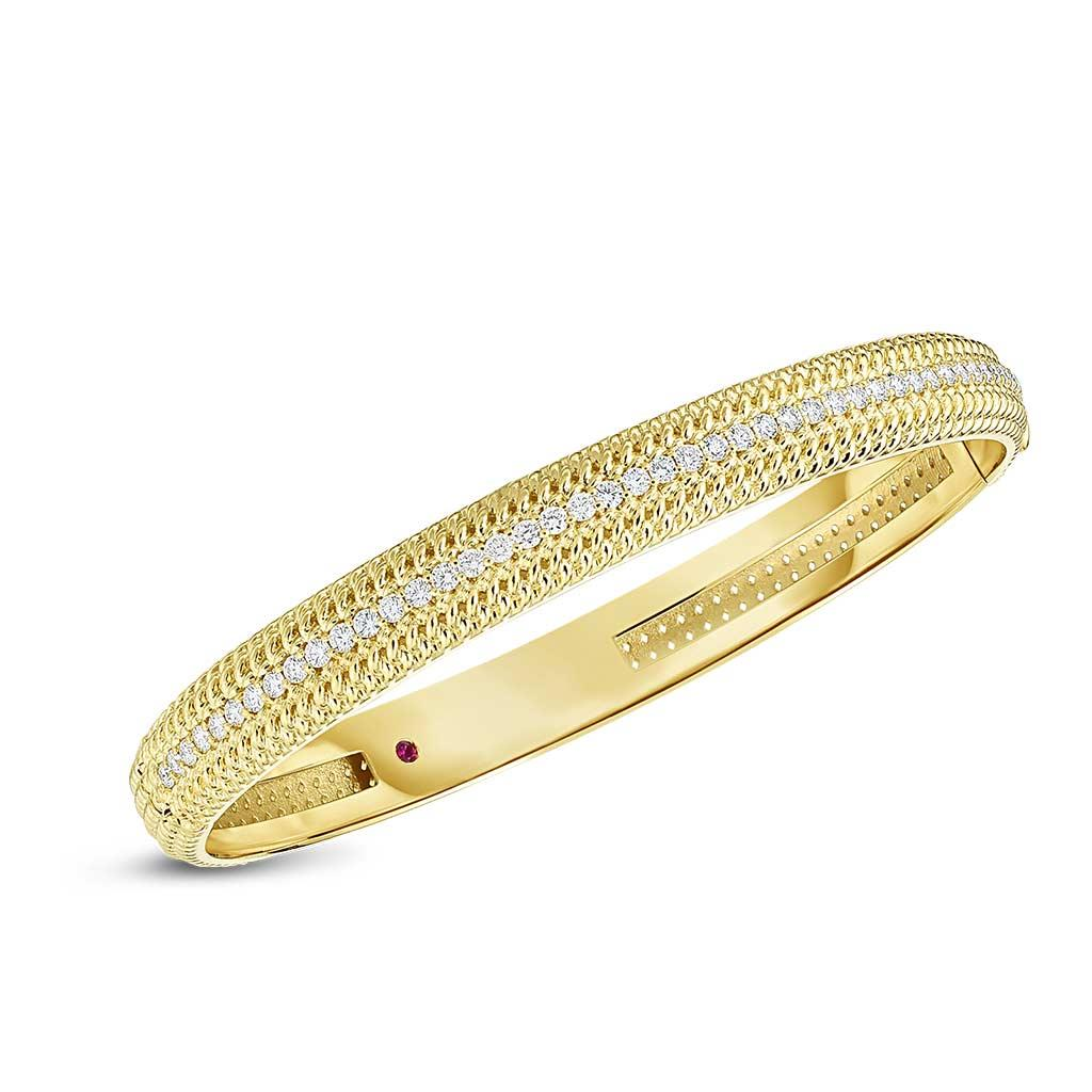 Roberto Coin yellow gold diamond bangle