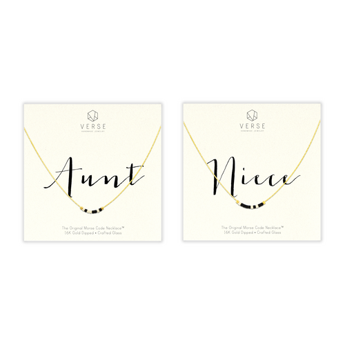 Aunt & Niece Morse Code Chain Necklace Set