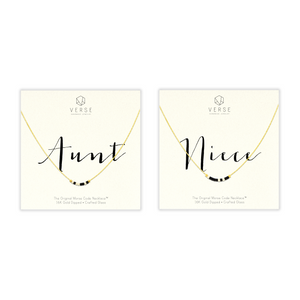 Aunt Morse Code Necklace and Niece Morse Code Necklace as set. Each displayed on a Verse Handmade Jewelry card. Ready to be aunt niece gifts or gift messaged with aunt and niece quotes.