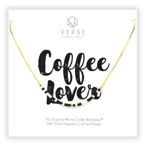 Coffee Lover Morse Code Chain Necklace